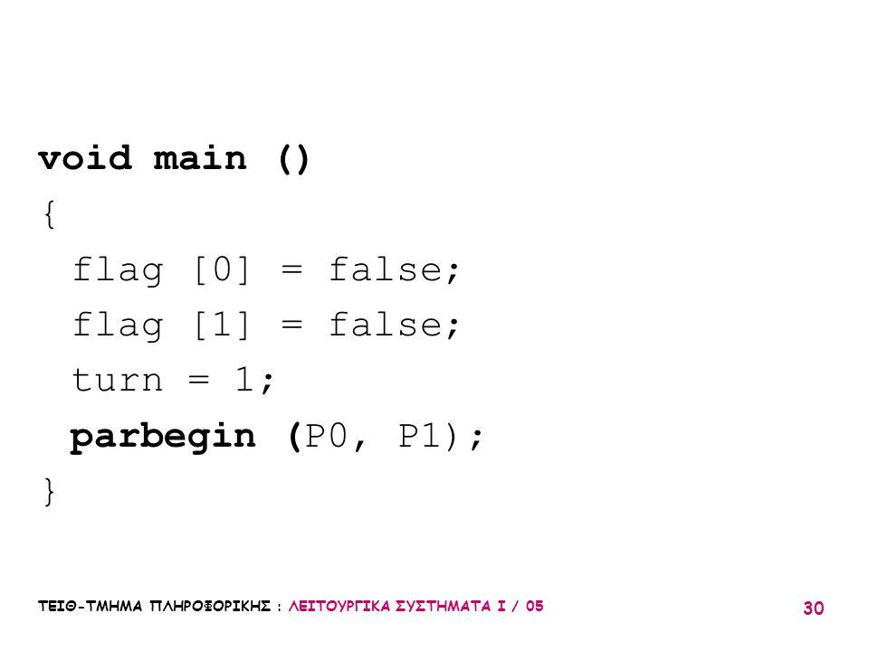 void main () { flag [0] = false; flag [1] = false; turn = 1;